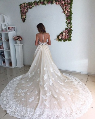 Gorgeous Mermaid Lace Detachable Cathedral Train Tulle Wedding Dresses Cheap Online_4