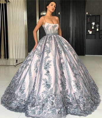Spaghetti Straps Lace Appliques Evening Dresses | Luxury Princess Ball Gown Prom Dress 2019