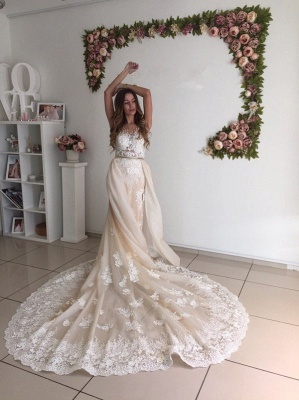 Gorgeous Mermaid Lace Detachable Cathedral Train Tulle Wedding Dresses Cheap Online_5