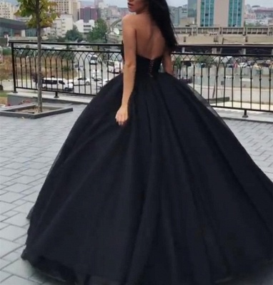 Sleeveless Black Sexy Sweetheart Ball-Gown Prom Dresses_3