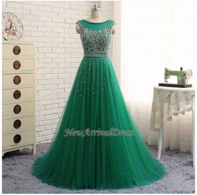 Beaded Custom Made A-line Tulle Brilliant Scoop Sleeveless Green Long Prom Dresses Cheap_1