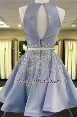 Gorgeous Custom Made A-line Crystal Sleeveless Two Piece Sexy Short Homecoming Dresses_3