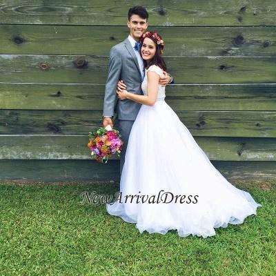 Jewel Lace Cap Sleeve New Arrival A-line  Elegant Sexy Cheap Beading Wedding Dresses_1