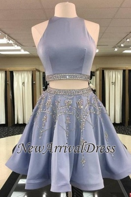 Gorgeous Custom Made A-line Crystal Sleeveless Two Piece Sexy Short Homecoming Dresses_1
