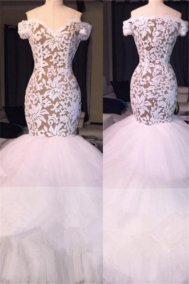 Off the Shoulder White Lace Long Prom Dresses Cheap | Tulle Mermaid Plus Size Formal Evening Gowns BA7796_2