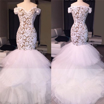 Off the Shoulder White Lace Long Prom Dresses Cheap | Tulle Mermaid Plus Size Formal Evening Gowns BA7796_3