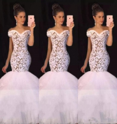Off the Shoulder White Lace Long Prom Dresses Cheap | Tulle Mermaid Plus Size Formal Evening Gowns BA7796_1