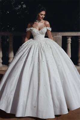 Off The Shoulder Beads Appliques Wedding Dresses 2019 | Princess Sexy Ball Gown Royal Wedding Dress Cheap_2
