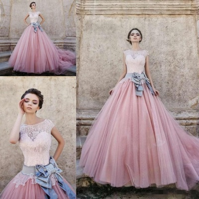 Lace Appliques Pink Ball Gown Wedding Dresses | Bowknot Cap Sleeve Bridal Gowns_3