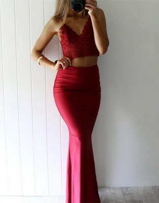 Gorgeous Red Lace Two Pieces Mermaid V-Neck 2018 Prom Dress