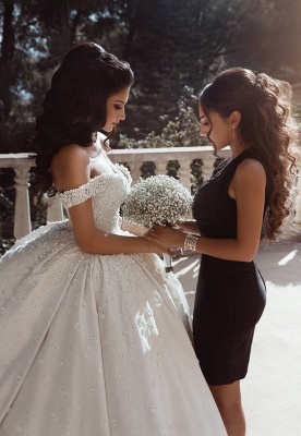 Off The Shoulder Beads Appliques Wedding Dresses 2021 | Princess Sexy Ball Gown Royal Wedding Dress Cheap_3
