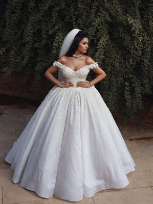 Off The Shoulder Beads Appliques Wedding Dresses 2021 | Princess Sexy Ball Gown Royal Wedding Dress Cheap_4