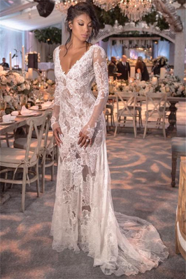 Long Sleeve V-neck Lace Wedding Dresses Cheap | Open Back See Through 2021 Bridal Gown BC0249_1