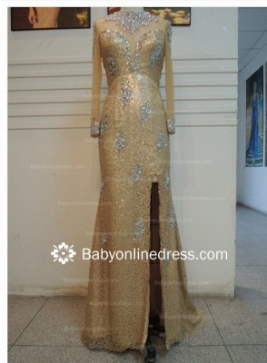 New Sexy Chiffon Beaded Crystals High Collar Long Sleeves Split Front Gold Sheath Long Evening Dresses_1