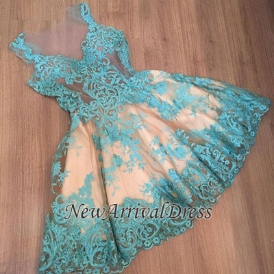 Custom Made A-line Appliques New Arrival Tulle Sleeveless Sexy Short Homecoming Dresses_1