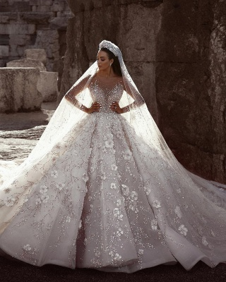 Sexy Beaded Cheap Flowers Bridal Gowns | Sheer Neck Long Sleeve Ball Gown Wedding Dresses_2