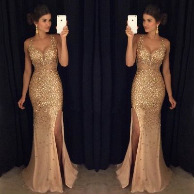 Crystals Gorgeous Mermaid Sleeveless Straps Front-Split Long Prom Dress_3