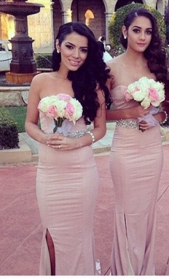 Simple Sheath Sweetheart Bridesmaid Dresses Side Slit Prom Dresses with Beadings_1