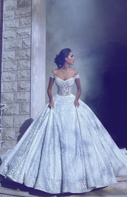 Glamorous Off-The-Shoulder Ball-Gown Long Wedding Dresses_2
