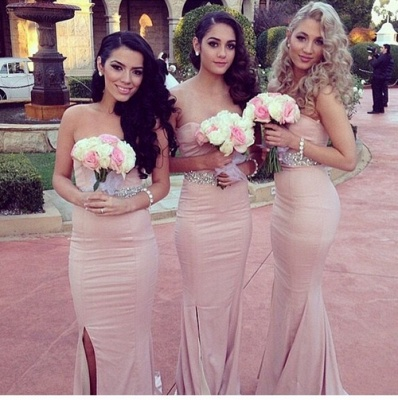Simple Sheath Sweetheart Bridesmaid Dresses Side Slit Prom Dresses with Beadings_2