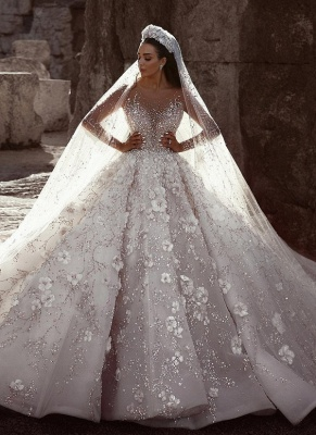 Sexy Beaded Flowers Bridal Gowns Sheer Neck Long Sleeve Ball