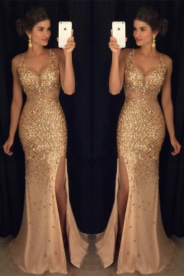 Crystals Gorgeous Mermaid Sleeveless Straps Front-Split Long Prom Dress_2