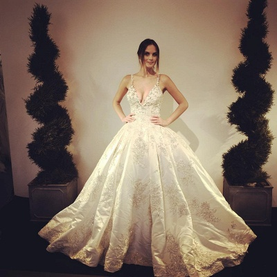Stunning V-Neck Lace Appliques Floor Length Ball Gown Wedding Dresses_3
