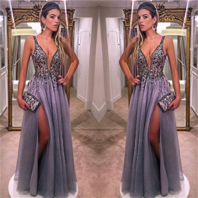 Gorgeous V-Neck Plus Size Prom Dresses Sleeveless Crystal Side Slit Formal Dresses_3