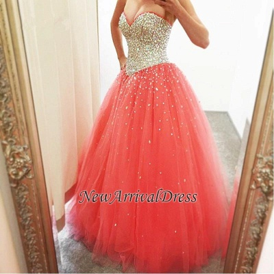 CrystalsCheap Puffy Sweetheart Tulle Sparkly Quinceanera Dresses_3
