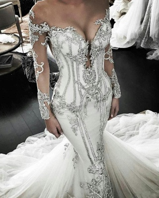Vintage Lace Appliques  Mermaid Wedding Dresses Cheap | Sexy Off The Shoulder Long Sleeve Bridal Gowns_1