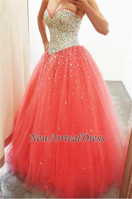 CrystalsCheap Puffy Sweetheart Tulle Sparkly Quinceanera Dresses_2