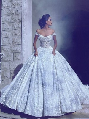 Glamorous Off-The-Shoulder Ball-Gown Long Wedding Dresses_1