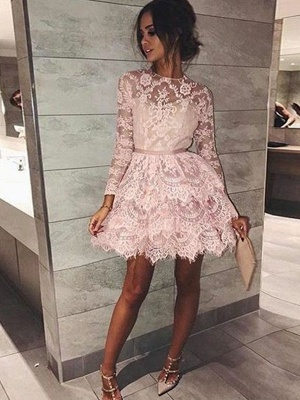 Chic Long Sleeves Homecoming Dresses  Scoop Pink Classic Cocktail Dresses_1