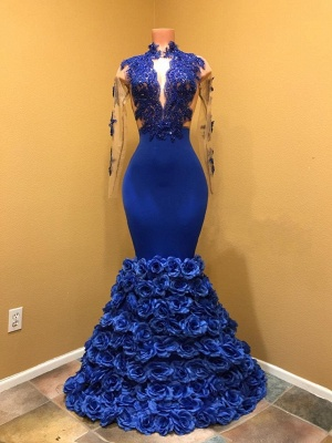 Gorgeous Royal Blue Prom Dresses | Long Sleeves Evening Gowns with Rose Flowers