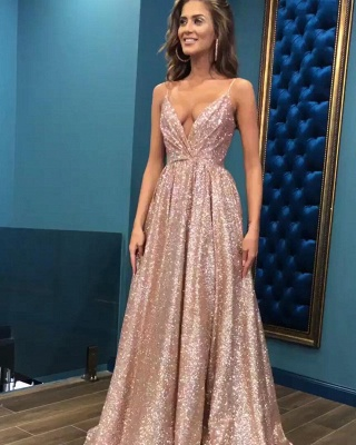 Sexy Sequins Simple Spaghetti Straps Evening Dresses | 2019 Cheap Open Back Sleeveless Prom Dress_1