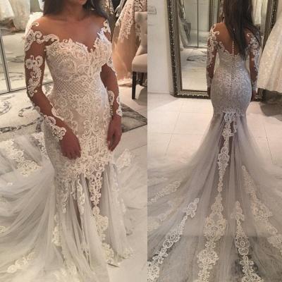 Elegant New Arrival Long Sleeve Mermaid Wedding Dresses | Long Train Online Cheap Bridal Gowns_4
