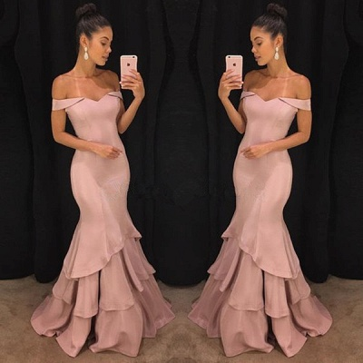 Pink Off The Shoulder Mermaid Prom Dresses Tiered Simple Formal Gowns SK0118-GA0_4