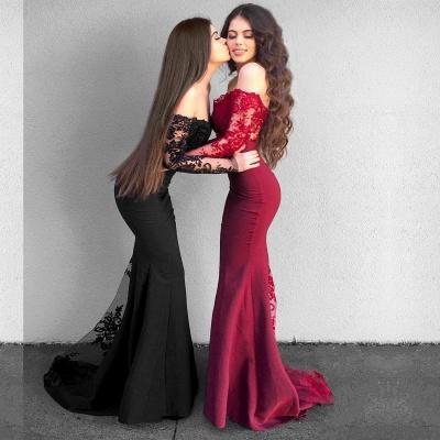 Delicate Off-the-shoulder Long Sleeve Prom Dress | Mermaid Prom Dress BA9154_3