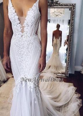 Custom Made Elegant Lace Appliques V-Neck Mermaid Open Back Wedding Dress Cheap_1