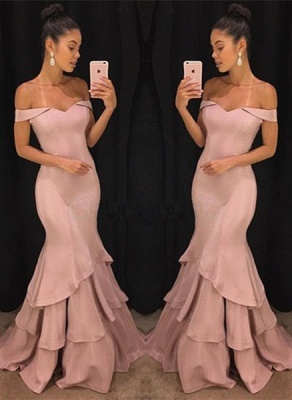 Pink Off The Shoulder Mermaid Prom Dresses Tiered Simple Formal Gowns SK0118-GA0_1