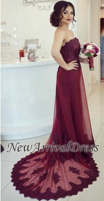 Elegant Lace Cheap Court-Train Burgundy Open-Back Strapless Appliques Prom Dress_3