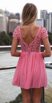 Pink Cocktail Dresses Lace Jewel Short Sleeves Mini Backless Chiffon Beautiful On Sale Short Prom Dresses BO2293_4