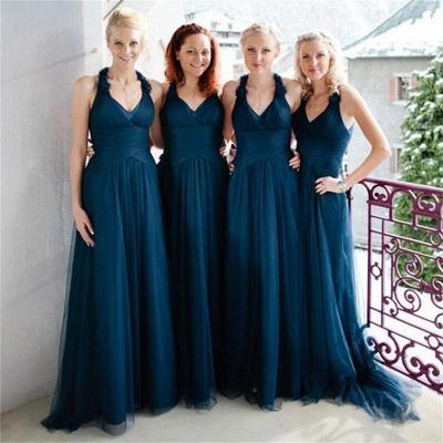 Navy A-line Halter Elegant Floor-length Simple Bridesmaid Dress_3