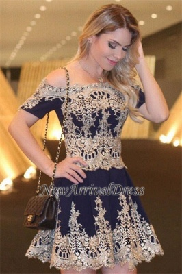 Off-The-Shoulder Latest Navy Short-Sleeves Lace Appliques Cheap Homecoming Dress_3
