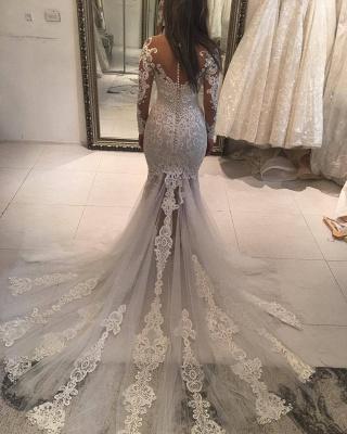 Elegant New Arrival Long Sleeve Mermaid Wedding Dresses | Long Train Online Cheap Bridal Gowns_3