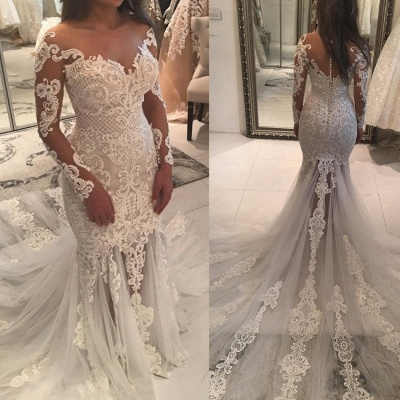 Elegant New Arrival Long Sleeve Mermaid Wedding Dresses | Long Train Online Cheap Bridal Gowns_4
