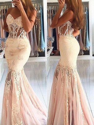 Sexy Mermaid Sleeveless Sweetheart Tulle Lace Sweep Train Prom Dresses