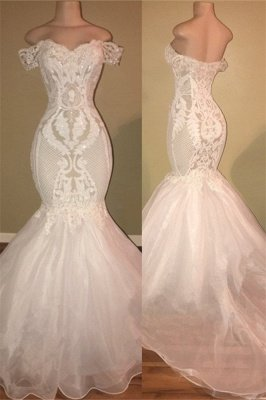 Off The Shoulder Long Prom Dresses Cheap | Open Back Sexy Lace Appliques Formal Dresses Online bc1326