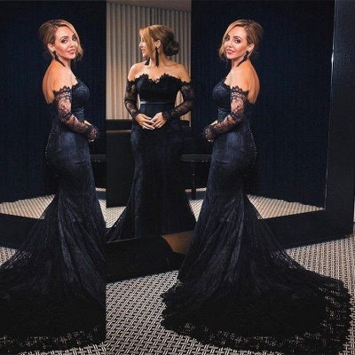 Elegant Black Lace Off-the-shoulder Mermaid Long Sleeve Prom Dress | Plus  Size Prom Dress BA7626
