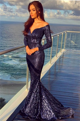 Off The Shoulder Sequins Evening Gowns with Sleeves | Sexy Mermaid Cheap Formal Dresses Long